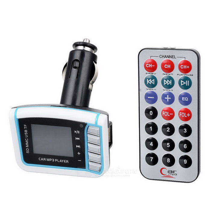 1.4 LCD Car FM Transmitter MP3 Player w/ Remote Controller - White + Blue + Black