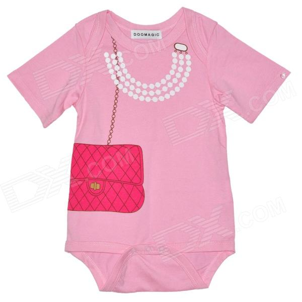 Doomagic Handbag Pattern Infant Baby Bodysuit / Rompers Suit - White + Red + Pink