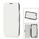 Protective PU Flip-Open Case w/ Stand for Samsung Galaxy S4 - White + Black