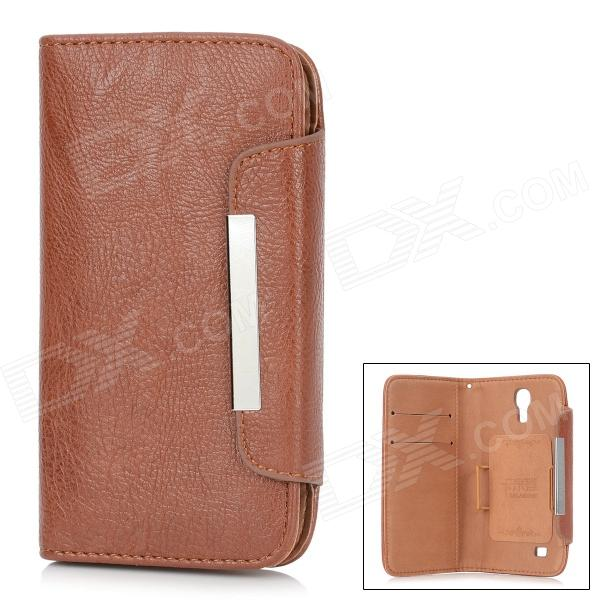 KALAIDENG Protective PU Leather Case w/ Hand Strap for Samsung Galaxy S4 i9500 - Brown eastor ln0029 hand warmer