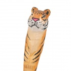 LH-1205 Hand-Carved Animal Tiger Style Black Ball Point Pen - Brownish Yellow + Black + White