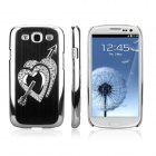 ENKAY Protective Electroplated Diamond Heart-Shape Plastic Case for Samsung i9300 - Black + Silver