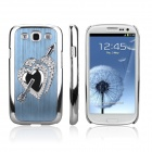 ENKAY Electroplated Diamond Heart-Shape Protective Plastic Case for Samsung i9300 - Sky Blue