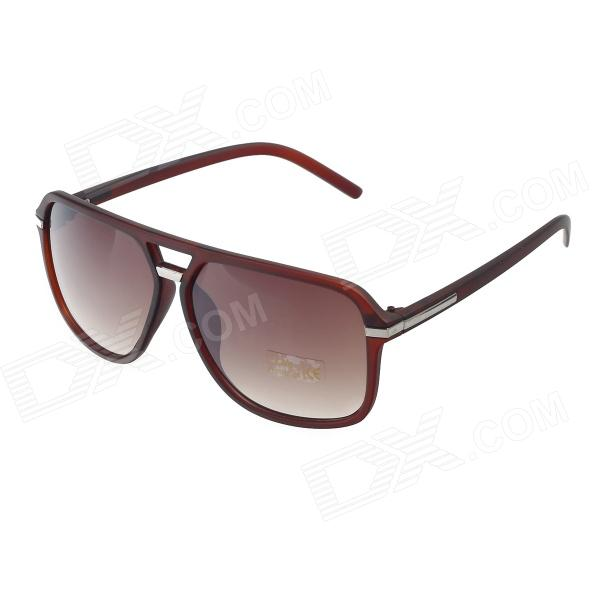Fashion UV400 Protection PC Frame Resin Lens Sunglasses - Bright Coffee + Tawny fashion uv400 protection round shape resin lens sunglasses wine red