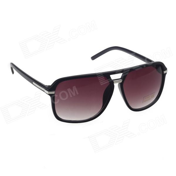 Stylish Plastic Frame Resin Lens UV 400 Protection Sunglasses - Bright Black + Wine Red fashion uv400 protection round shape resin lens sunglasses wine red