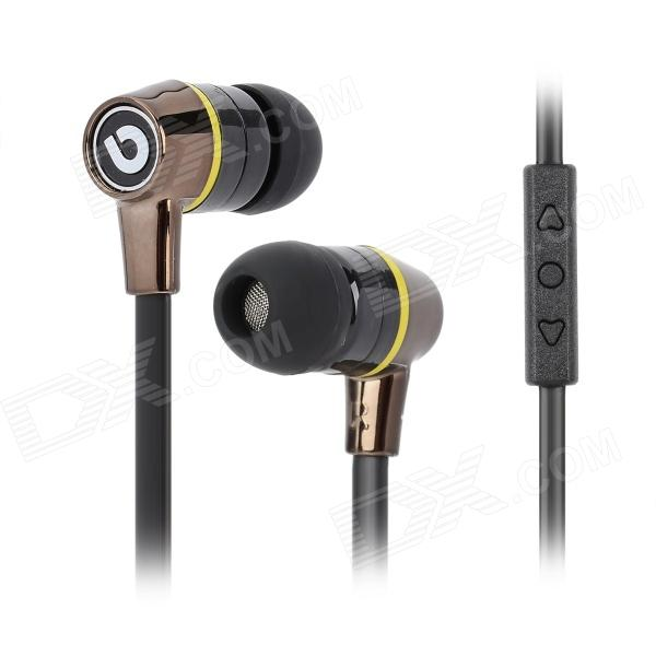 BIDENUO G360 Stylish In-Ear Earphone w/ Microphone for Iphone / Ipad / Ipod - Black (3.5MM Plug) 3 5mm jack in ear earphone w microphone for iphone 4 4s ipad samsung more black white