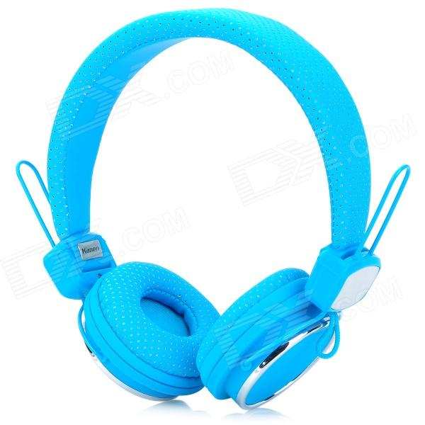 Kanen IP-850 Foldable Headset Headphone w/ Microphone - Blue + Silver (3.5mm Plug / 153cm-Cable) kanen ip 850 foldable headset headphone w microphone pink silver 3 5mm plug 153cm cable