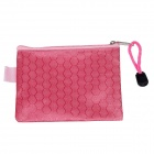 PVC + Cotton Football Print Zippered Information Kits Holder File Pockets - Pink (3 PCS / Small)