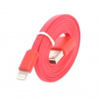 USB Male to 8-Pin Lightning Male Flat Data Sync / Charging Cable for iPhone 5 - Red (100cm)