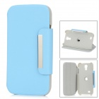 Lychee Pattern Protective PU Leather Case for Samsung Galaxy S4 i9500 - Light Blue