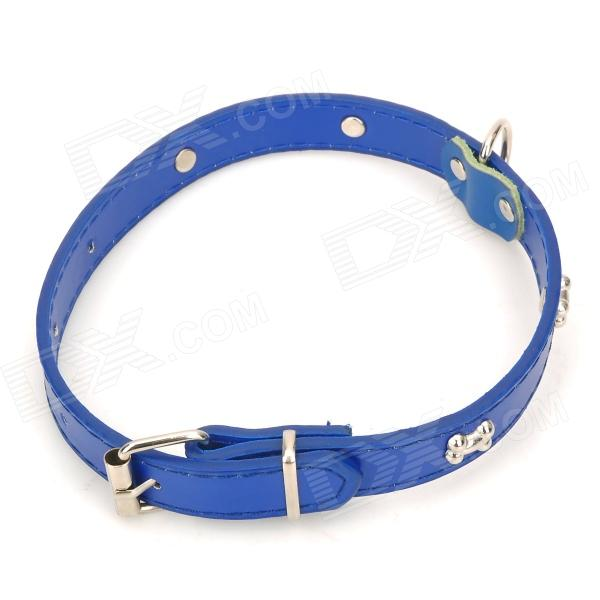 GQ_01 Bone Style Pet Dog Collar Belt - Deep Blue + Silver
