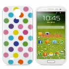 Polka Dot Style Protective TPU Back Case for Samsung Galaxy S4 i9500 - White + Multicolor