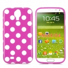 Polka Dot Style Protective TPU Back Case for Samsung Galaxy S4 i9500 - Purple + White