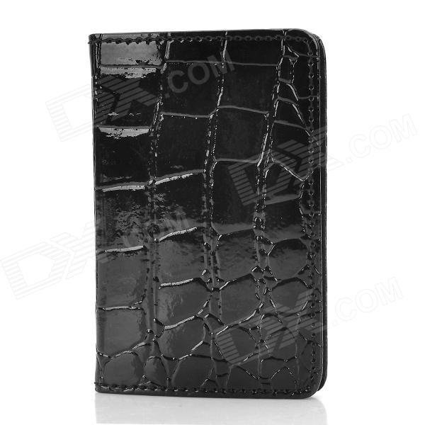 5 Fashionable Alligator Grain Patent Leather Business Card Holder - Black + Silver