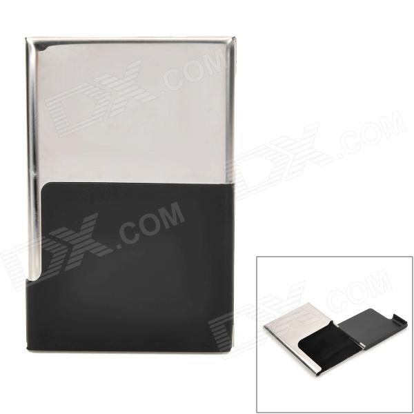Stainless Steel Mirror Surface Name Card Holder Case - Silver + Black