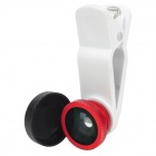 Universal 3-in-1 Clip-On Fisheye + Wide Angle + Macro Lens Set for Iphone / Samsung - White + Red