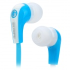 GENIPU GNP-81 Flat Cable Stereo In-Ear Earphones - Blue + White (3.5mm Plug / 120cm-Cable)