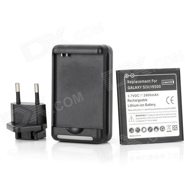 USB US Plug Charger + 3.7V 2800mAh Battery + EU Plug Adapter for Samsung Galaxy S4 (100~240V) 3 8v 2100mah battery 0 8 lcd us plug charger eu plug adapter for samsung galaxy core i8262