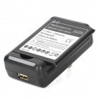 USB US Plug Charger + 3.7V 2800mAh Battery + EU Plug Adapter for Samsung Galaxy S4 (100~240V)