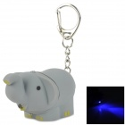 ZJ-20 Cute Elephant Style Plastic 1-LED Blue Light Key Chain - Grey