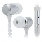 KingTime KT-11W Stylish Zipper Noise-Isolation In-Ear Earphones - White + Silver Grey (3.5mm Plug)