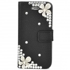 Protective Crystal Flower Flip-Open PU Leather Case for Iphone 5 - Black