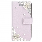 Protective Crystal Flower Flip-Open PU Leather Case for Iphone 5 - Light Purple