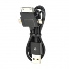 E19 USB to 8-Pin Lightning + 30-Pin + Micro USB Male to Male Data Charging Cable - Black (100CM)