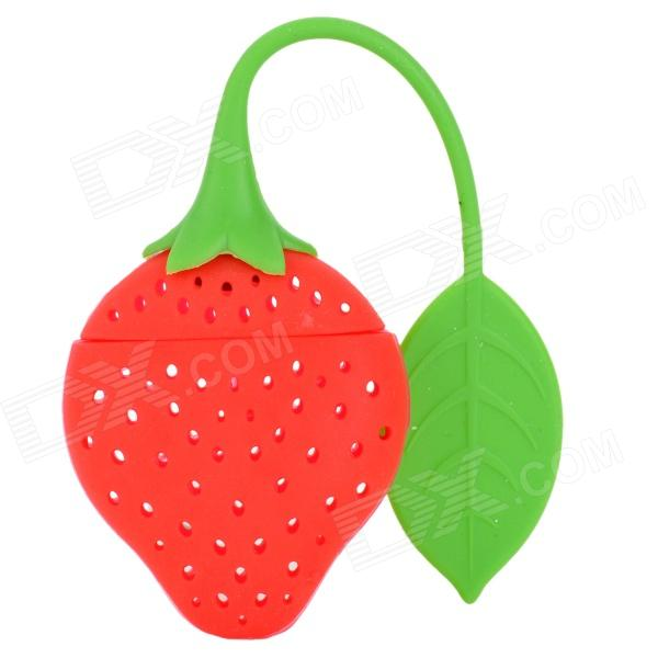 81082 Cute Strawberry Style Tea Strainer Filter - Red + Green