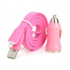DMT-8 Car Cigarette Adapter w/ USB to 8 Pin Lightning Charging Cable for iPhone 5 - Pink (100CM)