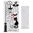 Aomei Sweet Cat Couple Pattern Home Wall Decorative PVC Paper Sticker - Black (100 x 50cm)