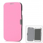 Protective PU Leather Cover Plastic Hard Back Case for Samsung Galaxy S4 i9500 - Deep Pink