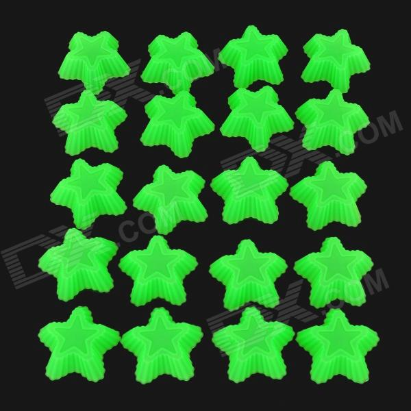 Five-pointed Star Style Silicone Cake Chocolate Molds - Grass Green (20 PCS) diy decorative butterfly style fondant cake silicone module green