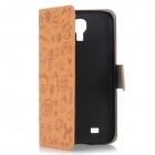 Cute Cartoon Pattern Protective PU Leather Case for Samsung Galaxy S4 i9500 - Brown