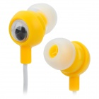 Stylish In-Ear Earphones w/ Cute Rabbit Cable Winder - White + Yellow (3.5mm Plug / 100cm-Cable)
