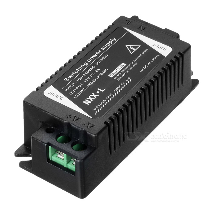 24W 12V 2A Switching Power Supply - Black ce rohs scn 600 24 single output switching power supply high quality 600w dc output 24v power supply
