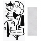 Aomei Street Lamp Pattern Home Wall Decoration PVC Paper Sticker - Black (110 x 60cm)