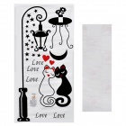 Aomei Sweet Cat Couple Pattern Home Wall Decorative PVC Paper Sticker - Black (70 x 35cm)