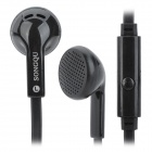 SONGQU SQ1010 Flat Cable Stereo Earphone w/ Microphone - Black (3.5mm Plug / 125cm-Cable)