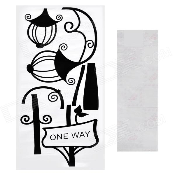 Aomei Street Lamp Pattern Home Wall Decoration PVC Paper Sticker - Black (60 x 30cm) aomei 0215 sea horse pattern pvc wall sticker black