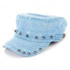 Modische Einstellbare Denim Stoff-Kappe w / Rivet für Frauen - Denim Blue
