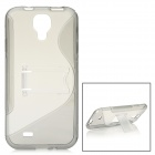 S Style Protective TPU Back Case w/ Stand for Samsung Galaxy S4 i9500 - Transparent + Grey