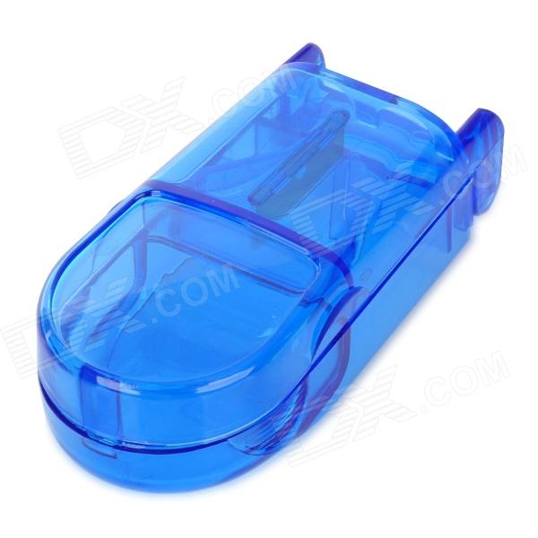 Mini Portable PP Resin 1-Compartment Medical Pill Case w/ Knife - Translucent Blue