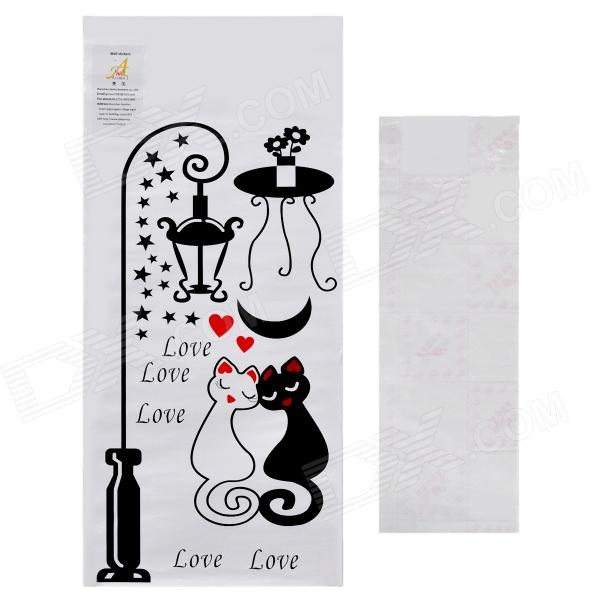 Aomei Sweet Cat Couple Pattern Home Wall Decorative PVC Paper Sticker - Black (50 x 26cm) aomei 0215 sea horse pattern pvc wall sticker black