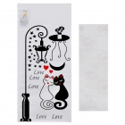 Aomei Sweet Cat Couple Pattern Home Wall Decorative PVC Paper Sticker - Black (50 x 26cm)
