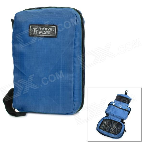 Multi-Functional Portable Nylon Cosmetic Toiletries Management Bag - Blue