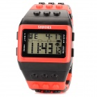 Rubber Band LED Digital Wrist Watch - Black + Red