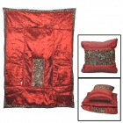 CHHIEF JPNK-002 2-IN-1 Retro Luxurious Chinese Style Folding Throw Pillow Blanket - Deep Red + Black