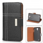 Protective PU Leather Case w/ Card Holder for Samsung Galaxy S4 i9500 - Black