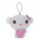 Cute Cat Style Plush Toy w/ Keychain - White + Pink
